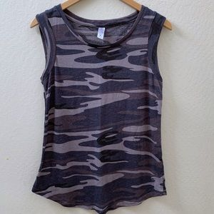 Alternative Apparel grey camo muscle tank top